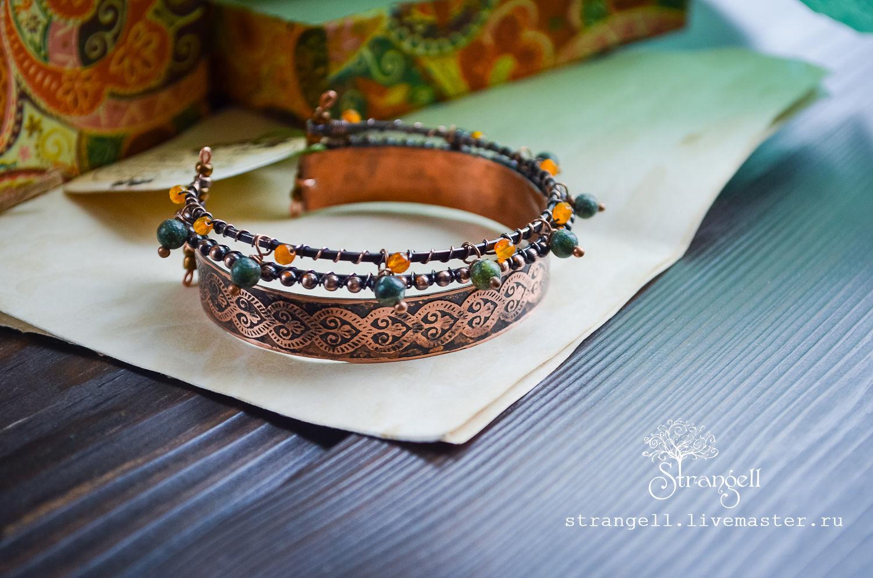 Oriental bracelet with an ornament Copper hard bracelet Coil and Agate, Hard bracelet, Ulan-Ude,  Фото №1