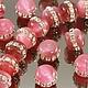 Бусины из искусственного камня кошачий глаз - кетсайт розового цвета формы рондель диаметром 15 мм и высотой 12 мм с крупными стразами для использования в сборке украшений
