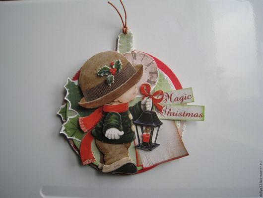 Магниты ручной работы. Ярмарка Мастеров - ручная работа. Купить Магнит для рождественского подарка. Handmade. Комбинированный, объемная картинка