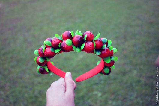 """Диадемы, обручи ручной работы. Ярмарка Мастеров - ручная работа. Купить Ободок """"Клюква"""". Handmade. Ярко-красный, ободок с ягодами"""