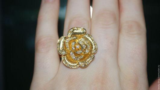"""Кольца ручной работы. Ярмарка Мастеров - ручная работа. Купить Кольцо """"Роза большая"""" серебро позолота. Handmade. Золотой"""