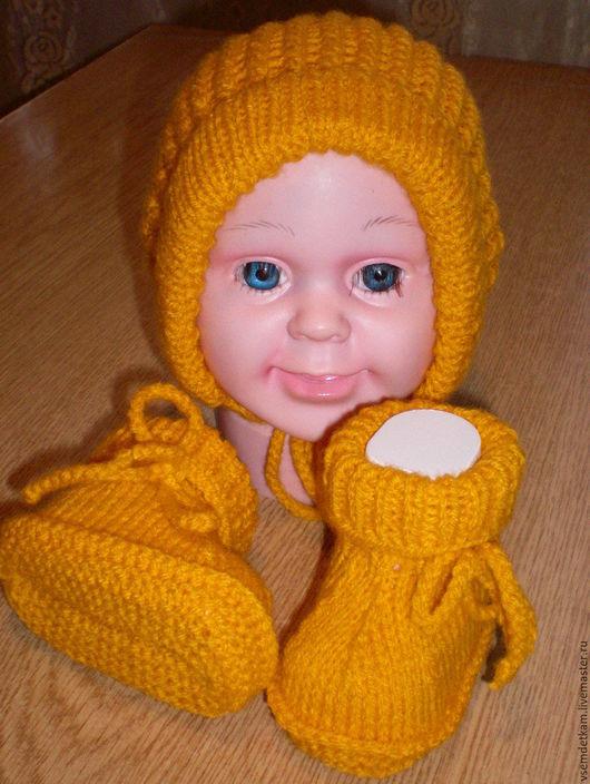 Для новорожденных, ручной работы. Ярмарка Мастеров - ручная работа. Купить Детские шапочка и пинетки. Handmade. Желтый, шапочка вязаная