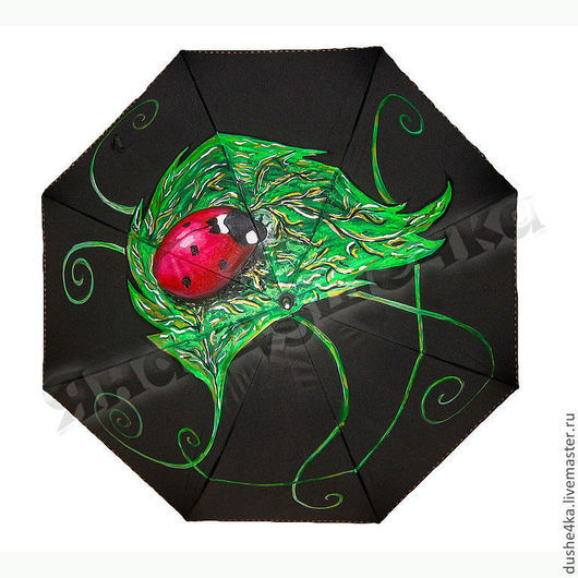 """Зонты ручной работы. Ярмарка Мастеров - ручная работа. Купить Зонт с росписью  """"Божья коровка"""". Handmade. Зонт, оригинальный зонт"""