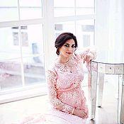 Одежда ручной работы. Ярмарка Мастеров - ручная работа Платье персиковое с кружевом. Handmade.