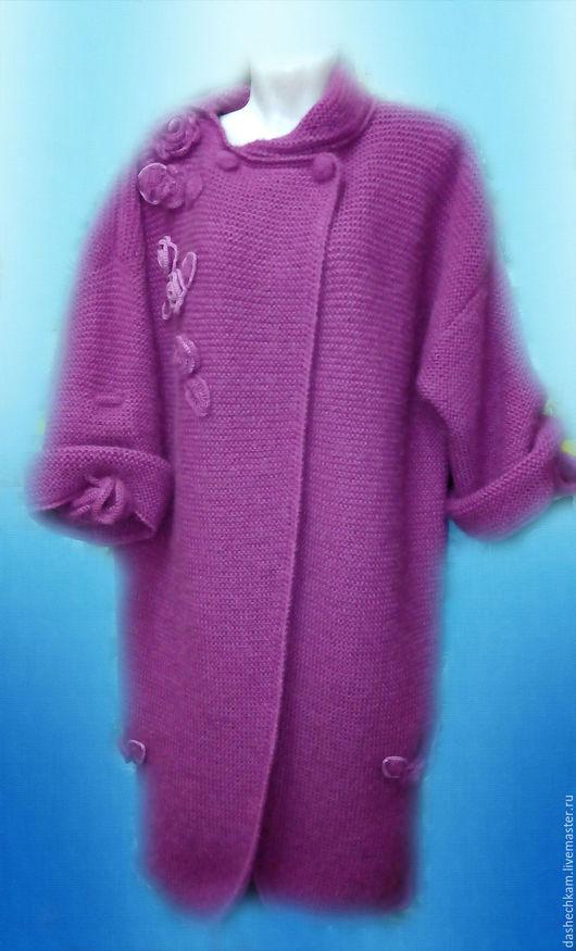 """Верхняя одежда ручной работы. Ярмарка Мастеров - ручная работа. Купить Вязаное пальто """"Мадам"""". Handmade. Фуксия, пальто вязаное"""