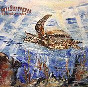 Картины и панно handmade. Livemaster - original item Watercolor painting CORAL. Turtle. Handmade.