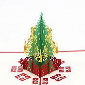 Елки ручной работы. Ярмарка Мастеров - ручная работа 3D Открытка - Новогодняя ёлка Merry Christmas. Handmade.