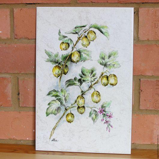 Натюрморт ручной работы. Ярмарка Мастеров - ручная работа. Купить Ботанический рисунок на плитке Крыжовник. Handmade. Желтый, ягоды
