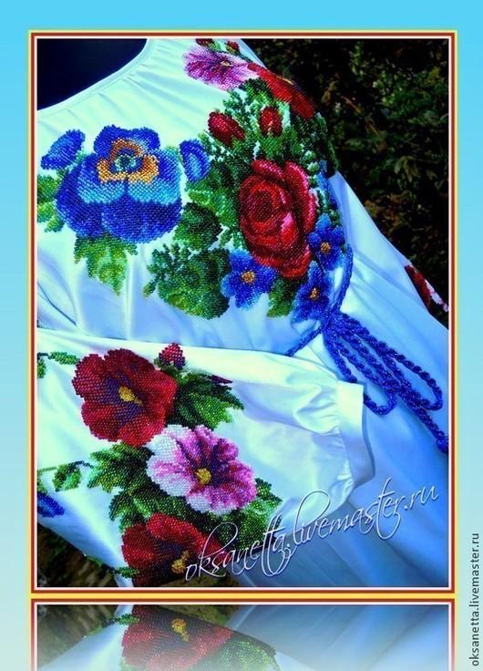 """Этническая одежда ручной работы. Ярмарка Мастеров - ручная работа. Купить Блуза """"Цветы цветут"""". Handmade. Белый, вышитые цветы"""