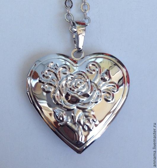 Для украшений ручной работы. Ярмарка Мастеров - ручная работа. Купить Открывающийся Медальон Сердце Роза-2. Handmade. Серебряный