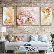Картины и панно ручной работы. Ярмарка Мастеров - ручная работа Триптих Inpression flower. Handmade.