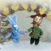 Куклы и игрушки ручной работы. Ярмарка Мастеров - ручная работа Мужик и заяц – персонажи мультфильма Падал прошлогодний снег. Handmade.