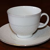 Винтажные сервизы ручной работы. Ярмарка Мастеров - ручная работа Фарфоровая чайная пара белого цвета, Seltmann Weiden, Германия. Handmade.