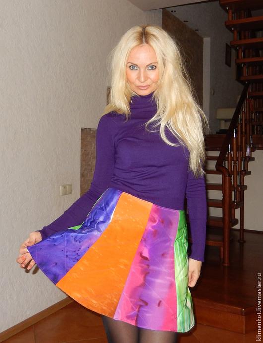 Юбки ручной работы. Ярмарка Мастеров - ручная работа. Купить юбка теплая,стеганная-  Радуга. Handmade. В полоску