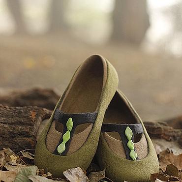 """Обувь ручной работы. Ярмарка Мастеров - ручная работа """"Туманный лес"""" валяные тапочки-балетки. Handmade."""