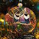 Коллекционный стеклянный елочный шар `Зачарованный сад`, витражная роспись