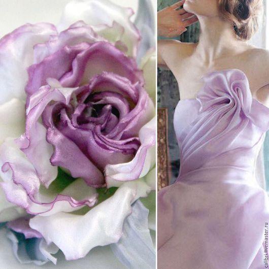 Броши ручной работы. Ярмарка Мастеров - ручная работа. Купить Бутонная роза из шелка - заколка-брошь. Handmade. Розовый