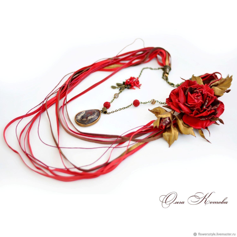 Колье трансформер Красные розы для королевы с симбирцитом с камнями, Колье, Курск,  Фото №1