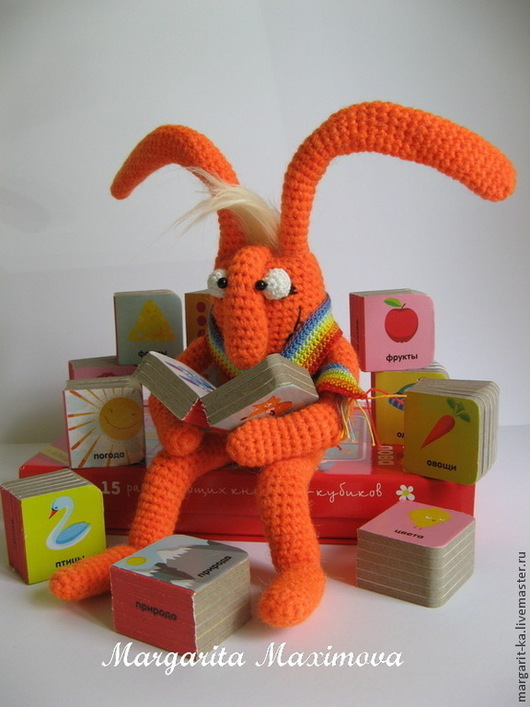 Морковный заяц. Любит читать. Маргаритка. Ярмарка Мастеров.
