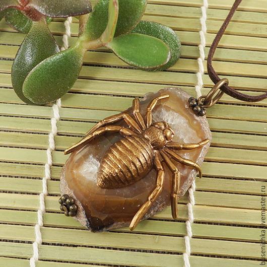 Кулоны, подвески ручной работы. Ярмарка Мастеров - ручная работа. Купить Подвеска Винтажный паук №2 (агат). Handmade.
