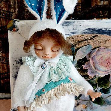 Куклы и игрушки ручной работы. Ярмарка Мастеров - ручная работа Куклы: Тедди Долл: Зайка сплюшка.. Handmade.