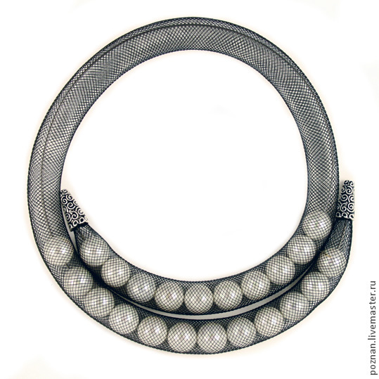 Mesh tube necklace with pearls, 2-strand