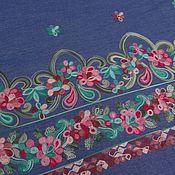 Ткани ручной работы. Ярмарка Мастеров - ручная работа Ткань джинс плательный с вышивкой. Handmade.