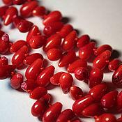 Материалы для творчества handmade. Livemaster - original item Coral red (20 pieces), approximate size 8h5 mm. Handmade.