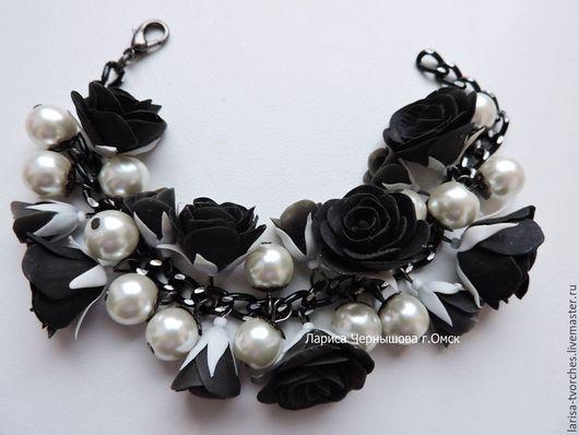"""Браслеты ручной работы. Ярмарка Мастеров - ручная работа. Купить Браслет """"Черные розы"""". Handmade. Черный, браслет на руку, браслеты"""