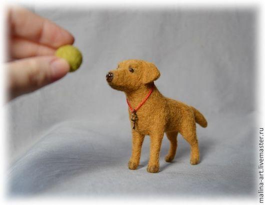 Игрушки животные, ручной работы. Ярмарка Мастеров - ручная работа. Купить Крошечный лабрадор (из войлока-сухое валяние). Handmade.
