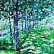 Картина пейзаж масло В середине лета Картина мастихином купить Летний пейзаж маслом Лето картина масло Картина деревья город