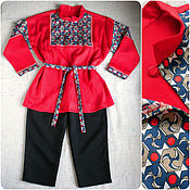 Работы для детей, ручной работы. Ярмарка Мастеров - ручная работа Костюм русский народный для мальчика детский красная рубашка триколор. Handmade.
