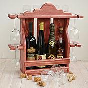 """Для дома и интерьера ручной работы. Ярмарка Мастеров - ручная работа """"Росса"""", Деревянная винная полка, винный шкаф стеллаж полка из дерева. Handmade."""