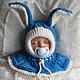 """Для новорожденных, ручной работы. Шапка-шлем """"Джинсовый зайчик"""". Mария Green Eyes & сompany. Ярмарка Мастеров."""