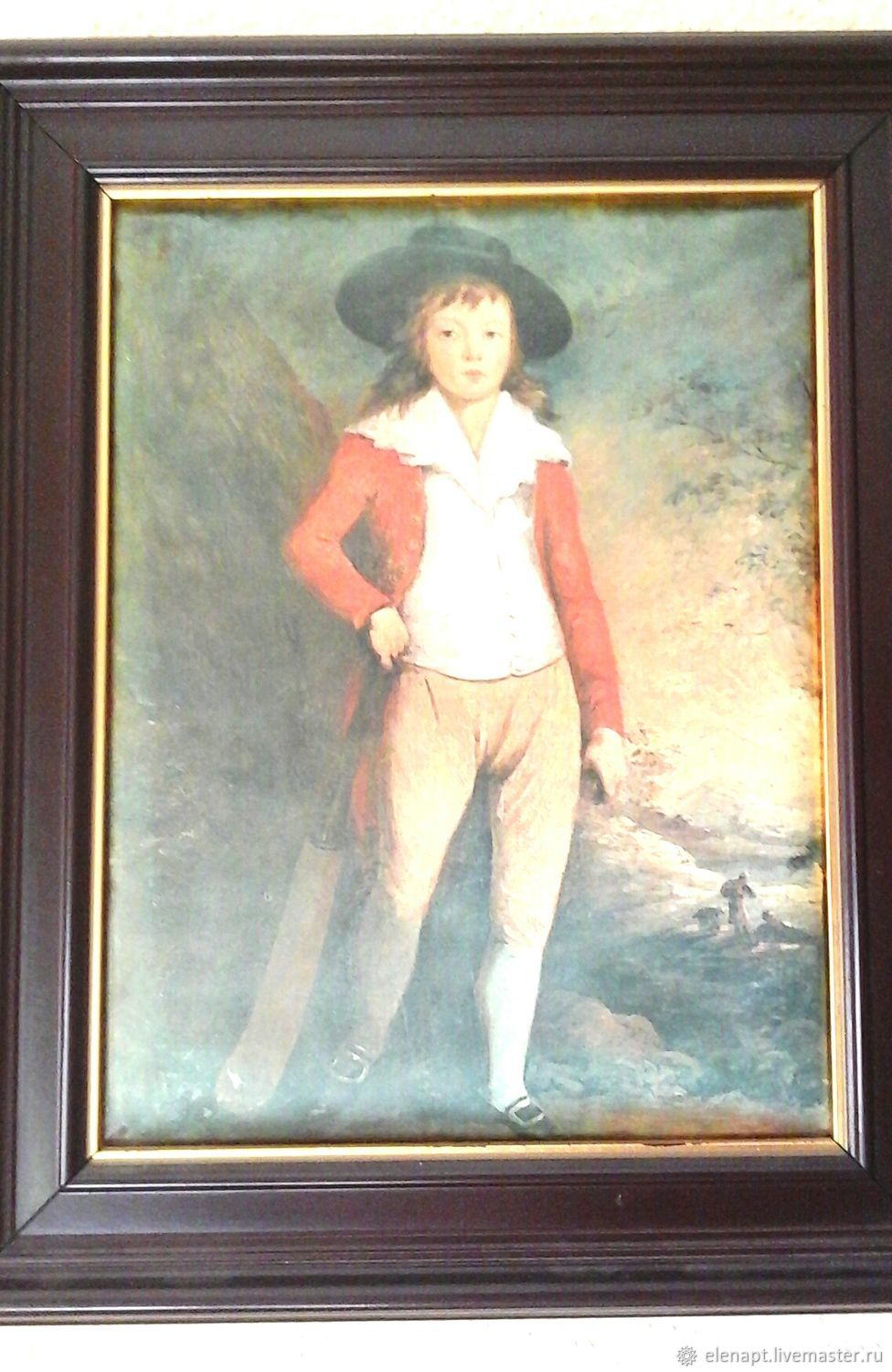 Lovely old silk screen printing in a frame, Vintage interior, ,  Фото №1