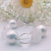 Украшения handmade. Livemaster - original item Bracelet made of cotton pearls, ametrine and quartz. Handmade.