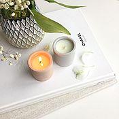 Свечи ручной работы. Ярмарка Мастеров - ручная работа Соевая свеча в бетоне. Handmade.