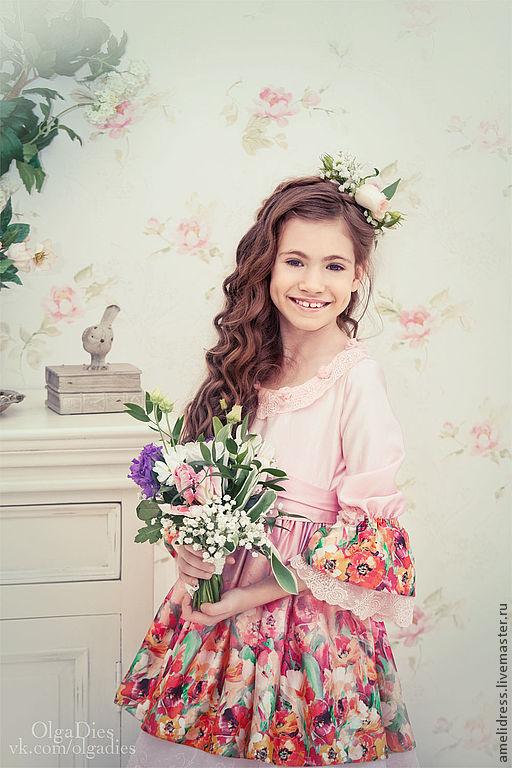 Одежда для девочек, ручной работы. Ярмарка Мастеров - ручная работа. Купить нарядное платье. Handmade. Бледно-розовый, лето, кружева