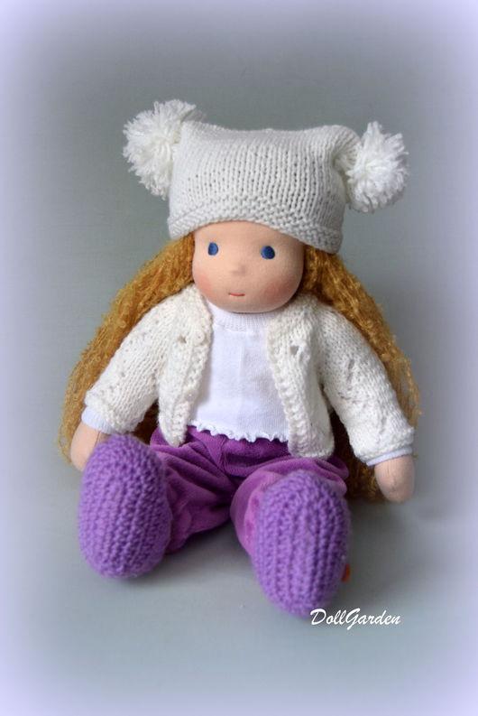 Вальдорфская игрушка ручной работы. Ярмарка Мастеров - ручная работа. Купить Вальдорфская кукла. Handmade. Сиреневый, кукла с гардеробом