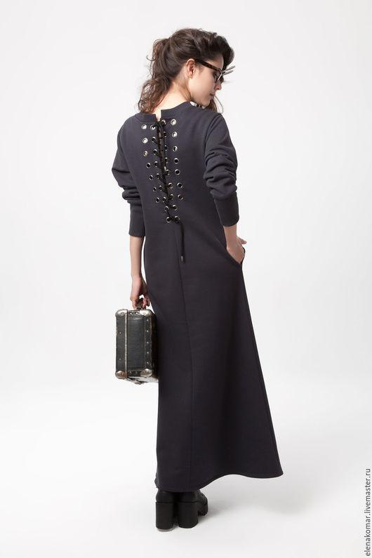 Платья ручной работы. Ярмарка Мастеров - ручная работа. Купить Платье длинное с декором на спине. Handmade. Однотонный, платье длинное
