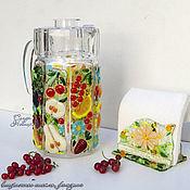 """Посуда ручной работы. Ярмарка Мастеров - ручная работа Кувшин """"Витаминки"""", стекло, фьюзинг. Handmade."""