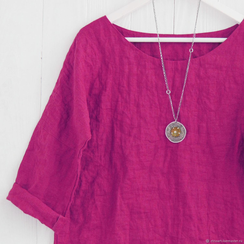 Блузка оверсайз из льна вишневого цвета, Блузки, Томск,  Фото №1