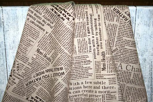 """Шитье ручной работы. Ярмарка Мастеров - ручная работа. Купить Плотный лён-хлопок  """"Газета беж"""". Handmade. Бежевый, журнал"""