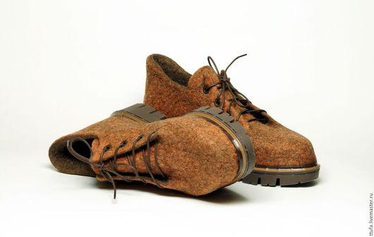 """Обувь ручной работы. Ярмарка Мастеров - ручная работа. Купить Валяные туфли """"Кальвадос"""". Handmade. Коричневый, валяная обувь"""