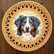 Картины и панно ручной работы. Ярмарка Мастеров - ручная работа Бернский зенненхунд -  картина на берестяной тарелке. Handmade.