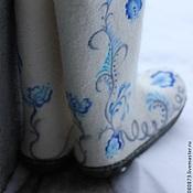 """Обувь ручной работы. Ярмарка Мастеров - ручная работа Валенки женские """"Гжель"""" праздничные, свадебные. Handmade."""
