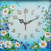 Для дома и интерьера handmade. Livemaster - original item Embroidered wall clock Daisies Fantasy. Handmade.