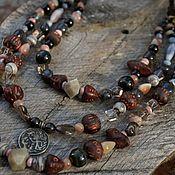 handmade. Livemaster - original item Multi-row necklace with agate, birds and a coin. Handmade.