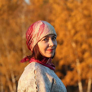 Accessories handmade. Livemaster - original item Hat felted woolen women`s Bordeaux and sand. Handmade.