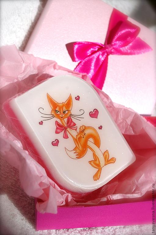Мыло ручной работы. Ярмарка Мастеров - ручная работа. Купить Мыло Кошечка кокетка (в подарочной коробочке). Handmade.